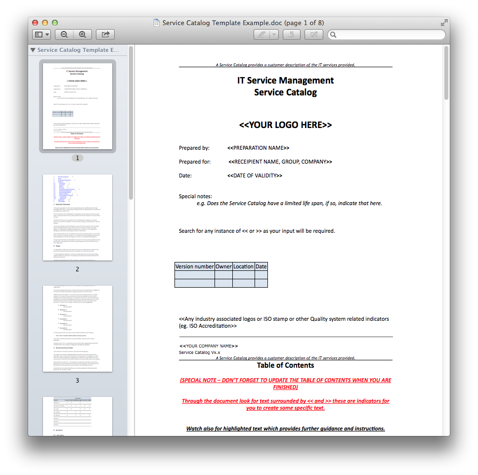 Service Catalog Template Example.doc.png (967×961)   Working ...
