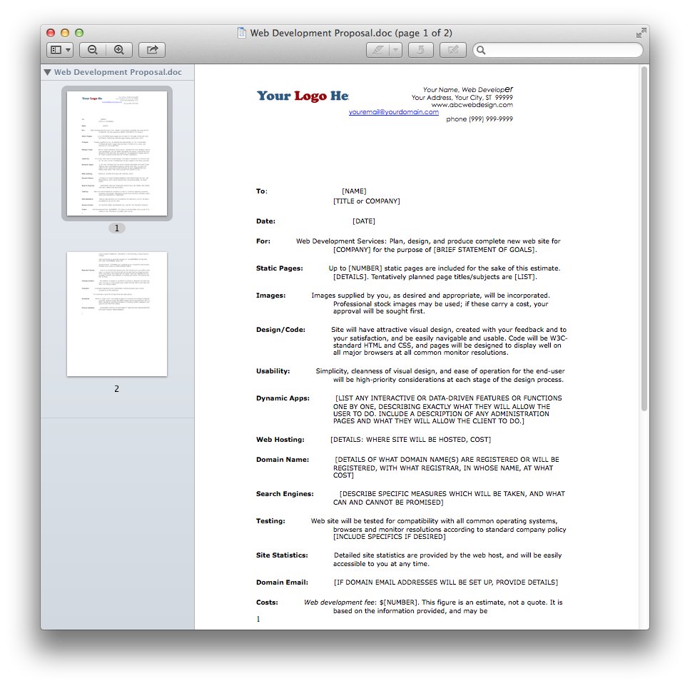 Web Development Proposal.doc.png (967×961) | Working Documents for ...